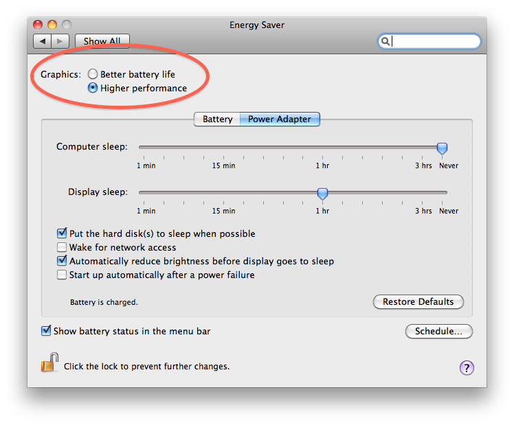 GPU selection in the Energy Saver system preferences