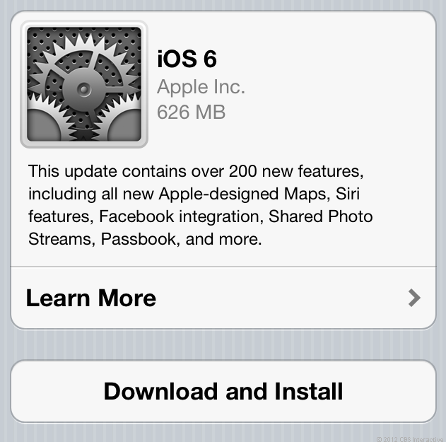 The update is more than 600MB for iPhone 4S users.