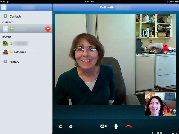 Two-way video calling on Skype for iPad.