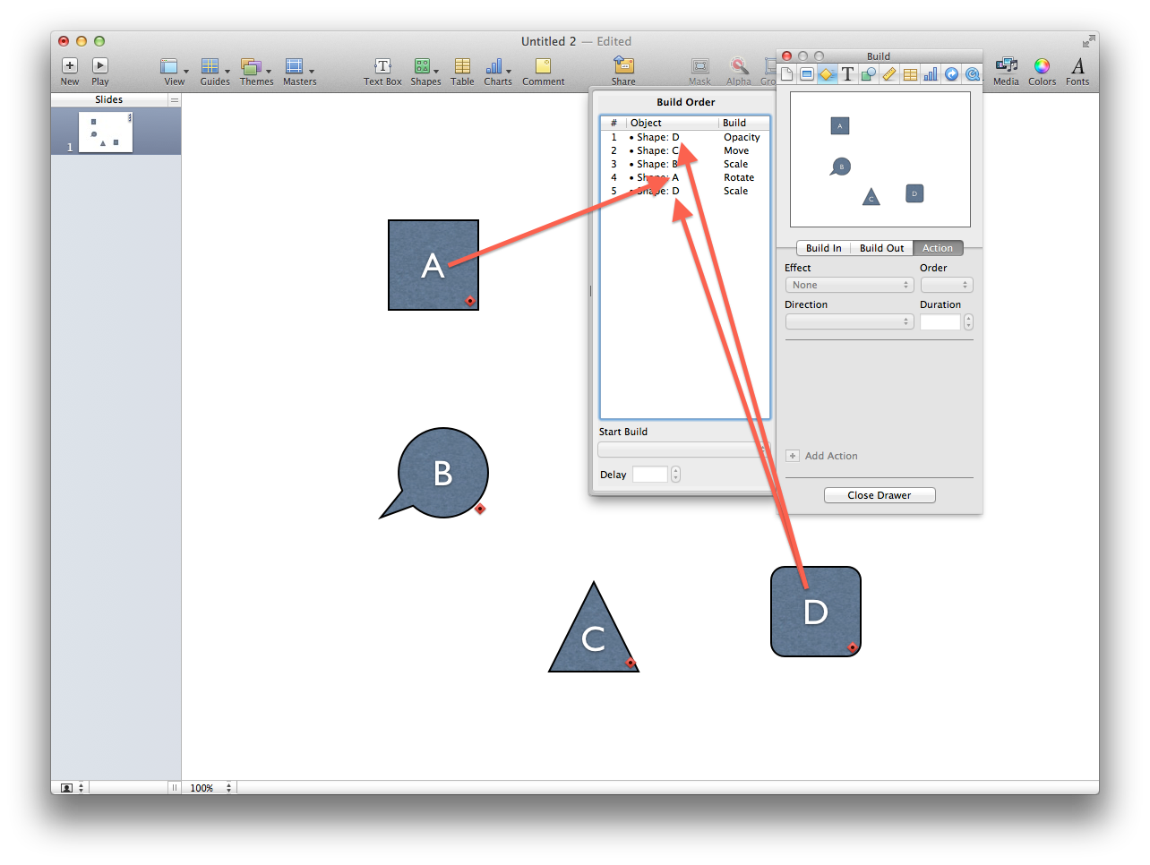 Keynote transitions with labels