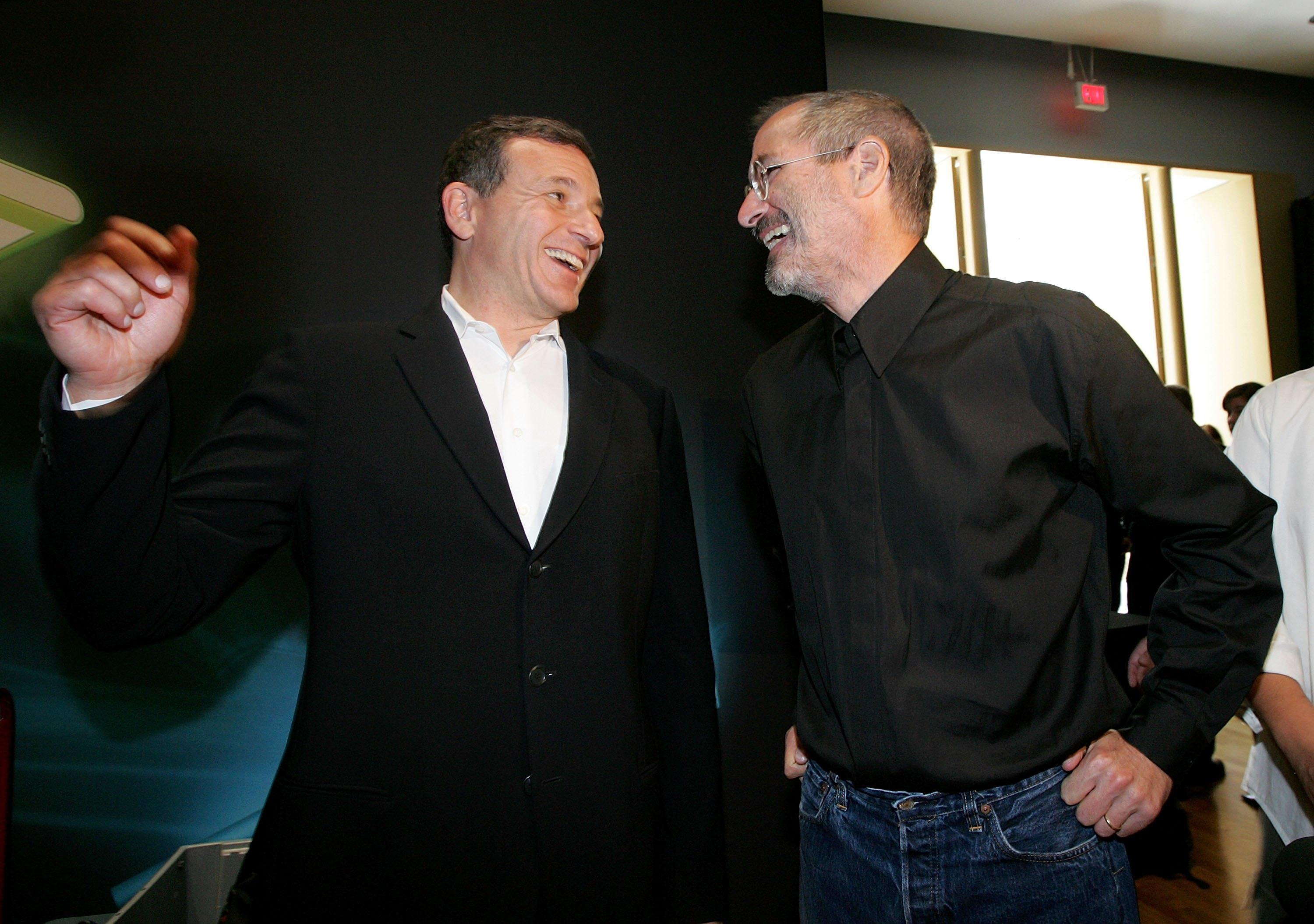 <p>Disney CEO Bob Iger and Apple CEO Steve Jobs worked closely together. Iger this week resigned from Apple's board as the two companies gear up to compete in streaming video.&nbsp;</p>