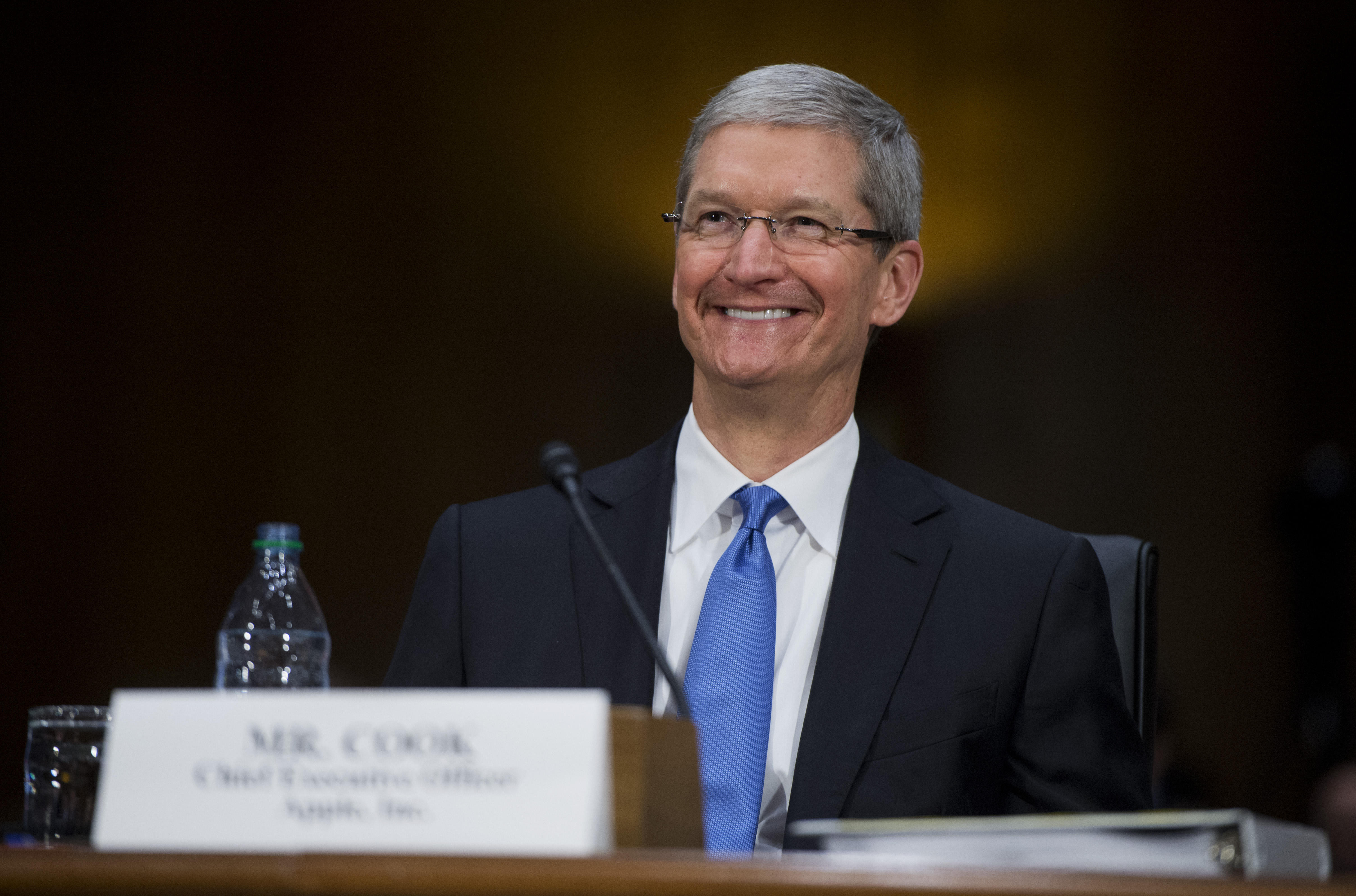 Apple CEO Tim Cook at a congressional hearing