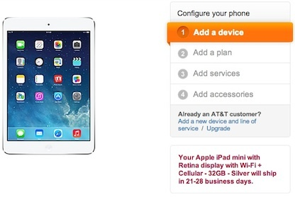 The graphic on the AT&T iPad Mini Retina page for the cellular version.