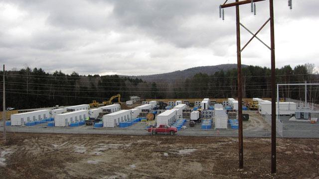 Beacon Power's Stephentown, New York storage plant during construction. The blue cylinders are the flywheels.