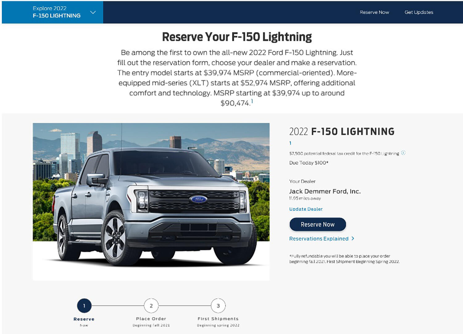 2022 Ford F-150 reservation