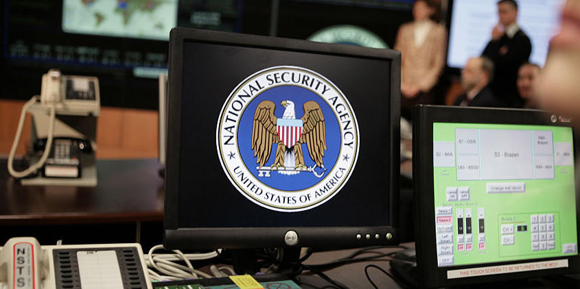 The NSA's logo on a computer screen inside the Threat Operations Center at the agency's headquarters in Fort Meade, Maryland, in the Baltimore metro area.
