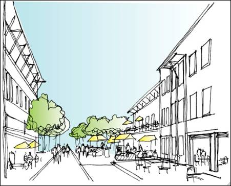 A sample image of what Facebook's new campus might look like after it takes over Sun's old buildings in Menlo Park.