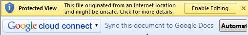 MS Office 2010 protected-file warning