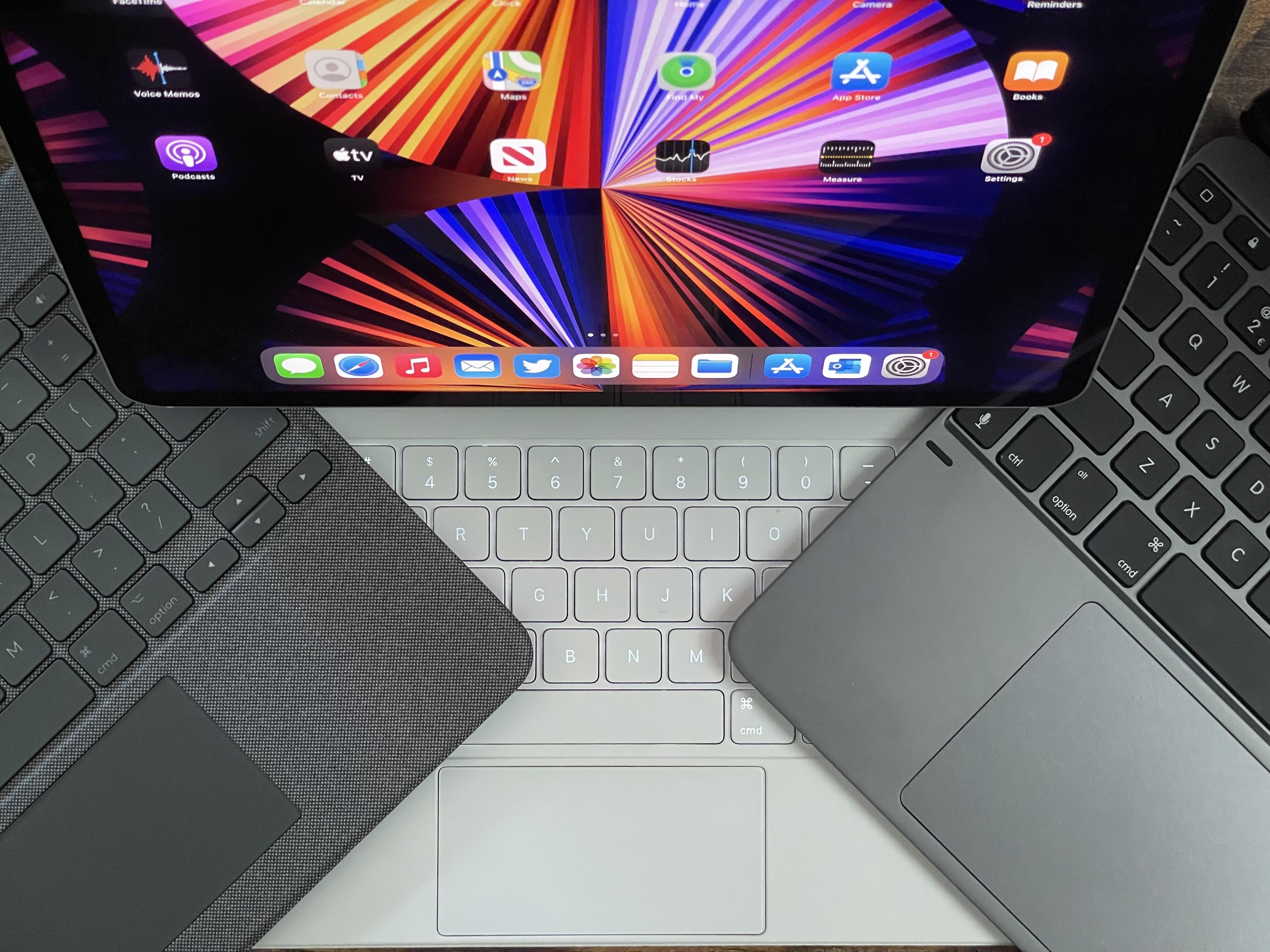 <p>iPad Pro keyboard options: Logitech Combo Touch (left), Magic Keyboard (middle), Brydge Max 12.9+ (right).</p>