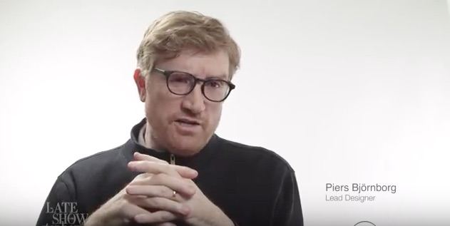 A still from the Late Show parody video