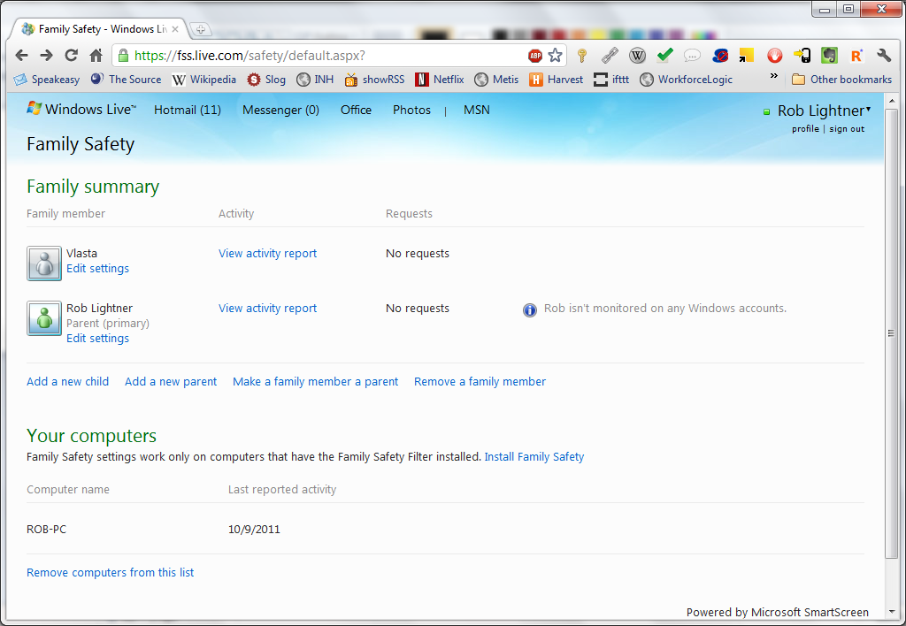Step 8: Open Windows Live Family Safety monitor page.
