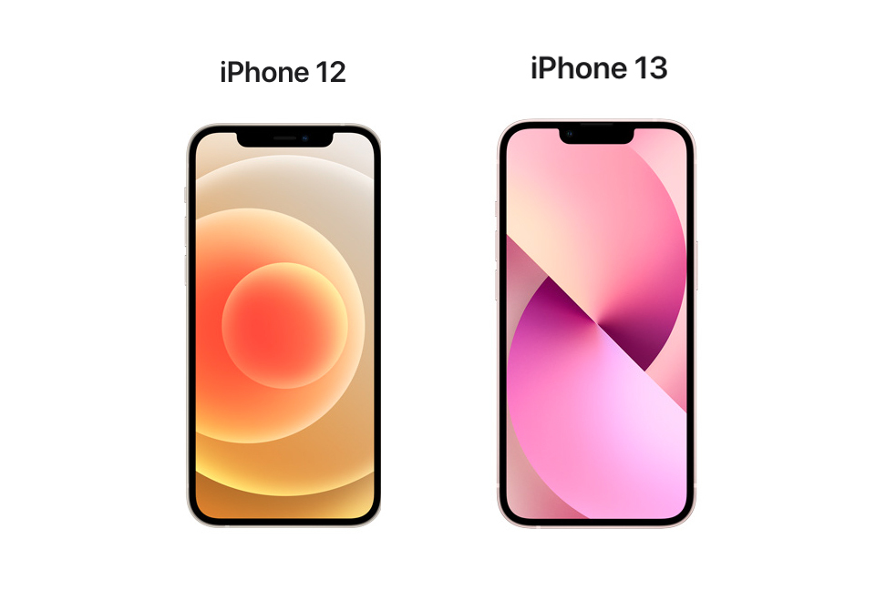 iphone-12-vs-iphone-13-cnet-front-screens-notch-2021-apple