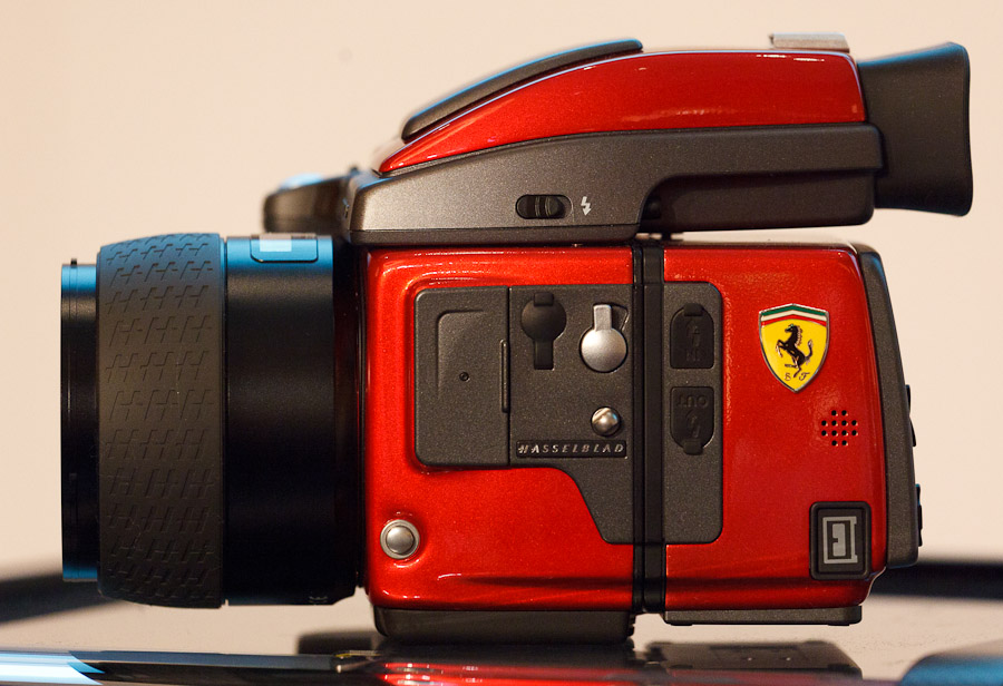 Hasselblad's unveiled a limited-edition Ferrari-branded H4D medium-format camera at Photokina.