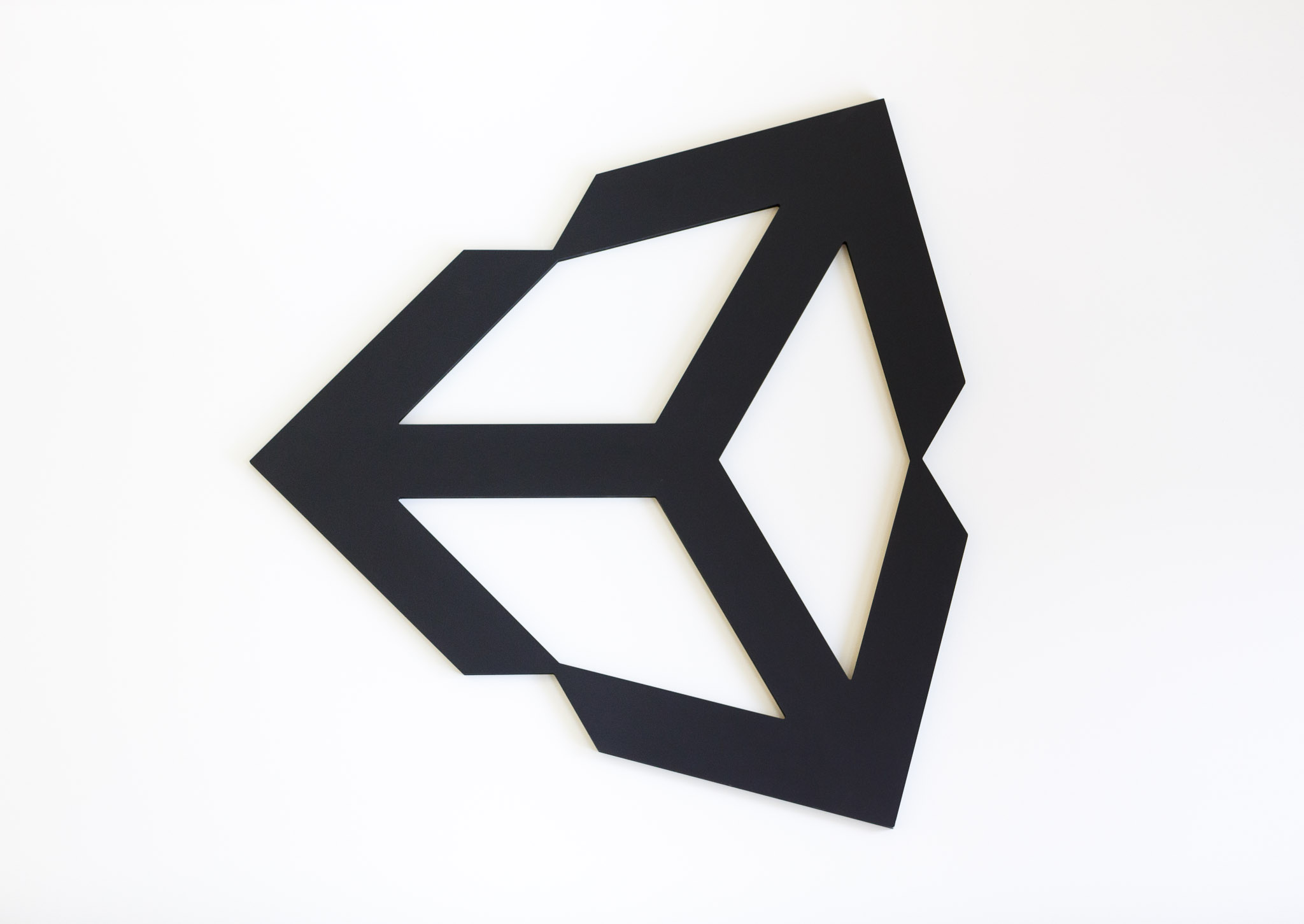 Unity's logo appears as giant wall art at the company's San Francisco office.
