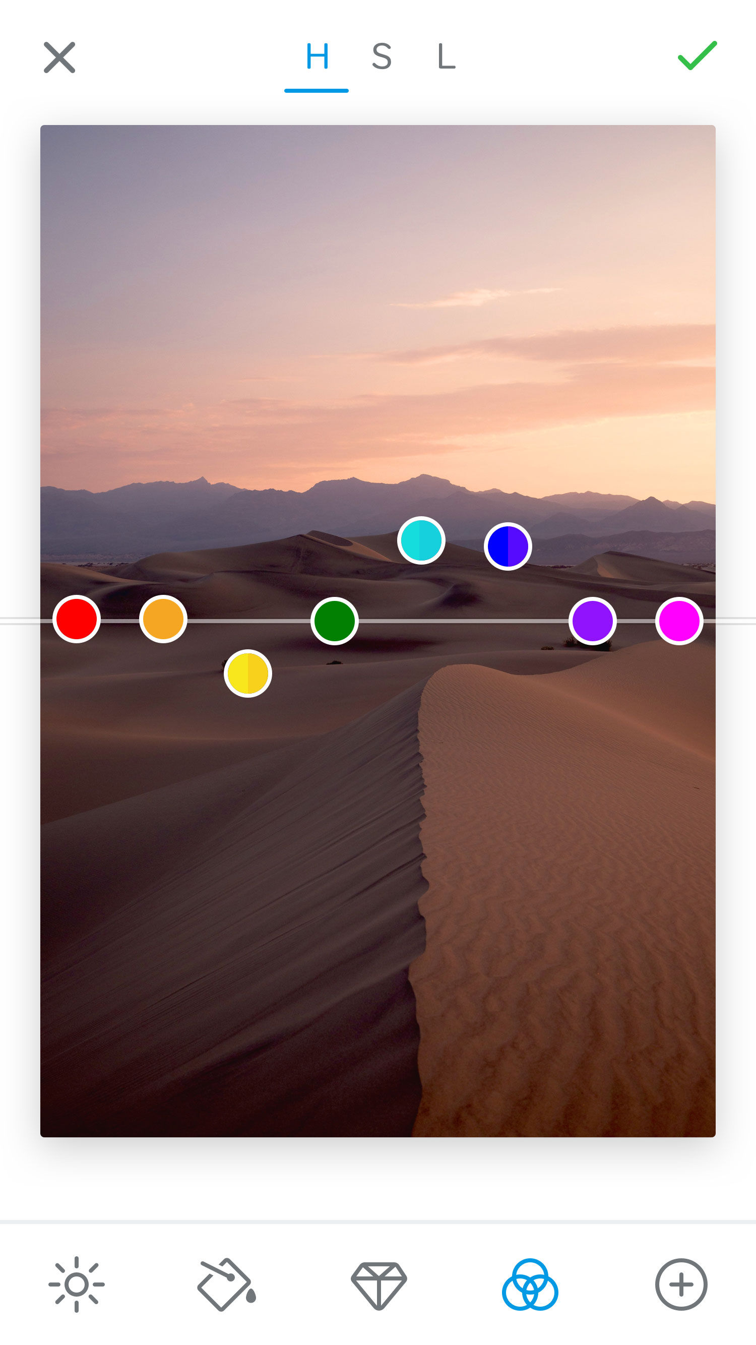 The 500px Raw camera app lets you adjust photo colors with sliders.