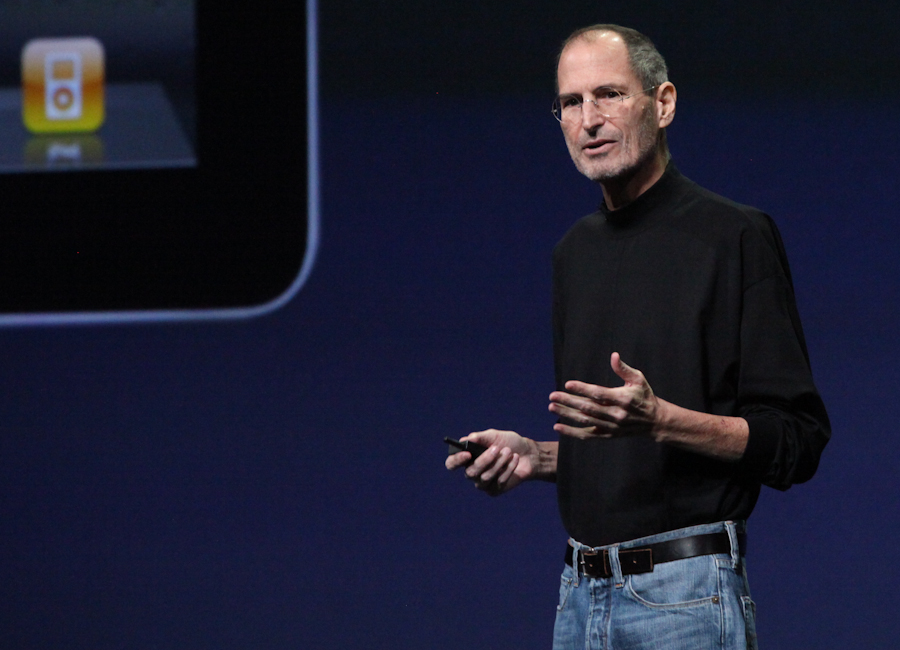 Apple CEO Steve Jobs takes the wraps off the iPad 2 at the company's event earlier today in San Francisco.