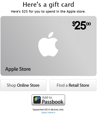 Apple gift cards now support Passbook.