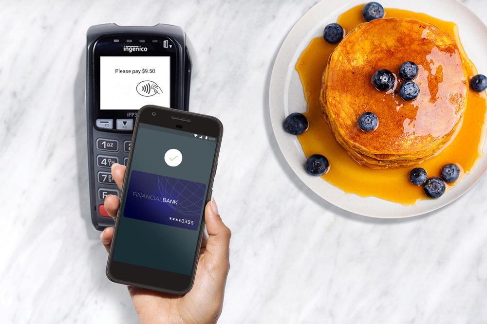 New payment systems like Google Pay, shown here, should eventually kill off signatures.