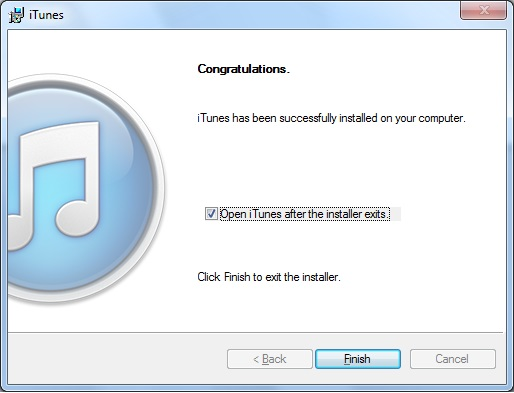 Congratulations. iTunes has been successfully installed on your computer.