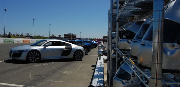 Audi R8 and the helmet stand