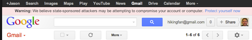 This is the warning that Google is displaying to Gmail accounts that it suspects may have been targeted by state-sponsored phishing and malware attacks.