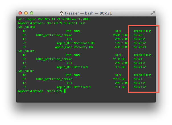 Drive identifier labels in the Terminal