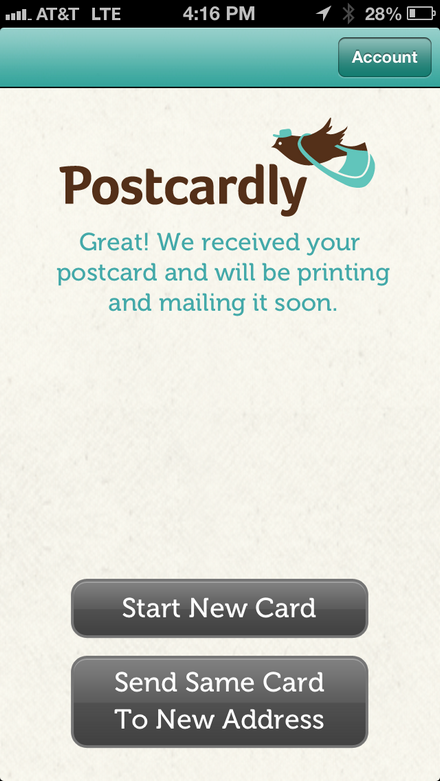 Postcardly tells you it's on the way