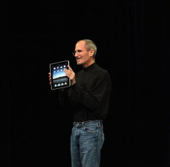 Late Apple CEO Steve Jobs, introducing the first iPad in 2010. The 3G model is among the devices on the ban list.