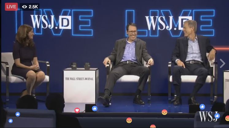 AT&T CEO Randall Stephenson (center) and Time Warner CEO Jeff Bewkes were on stage together at the WSJ.D conference in California to talk about their newly announced $85.4 billion merger.