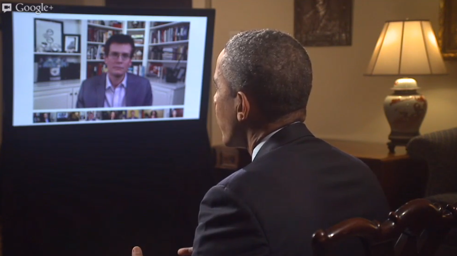 President Obama answers questions today during a Google+ Hangout.