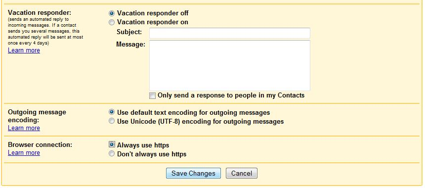 """The """"Browser connection"""" section of Gmail's Settings dialog"""