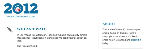 The Obama Campaign has signed up for Tumblr.