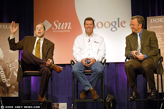 Happier times: Sun and Google were Java allies in 2005, when Sun's then-president Jonathan Schwartz, left, and CEO Scott McNealy, center, joined Google CEO Eric Schmidt to tout a partnership that ultimately fizzled.