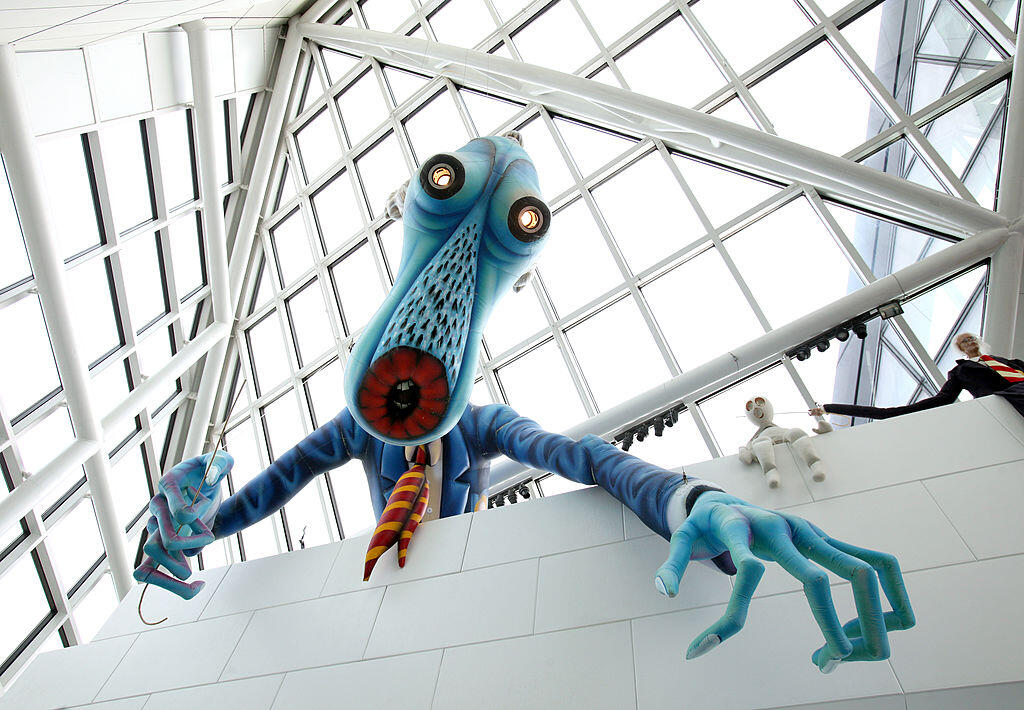 """<p>Leave those kids alone. """"The Teacher,"""" a 30-foot-tall inflatable sculpture from Pink Floyd's famous live stage performances of their 1979 album The Wall. The infamously soul-sucking pedagogue is on permanent display at the Rock and Roll Hall of Fame and Museum in Cleveland, Ohio.</p>"""