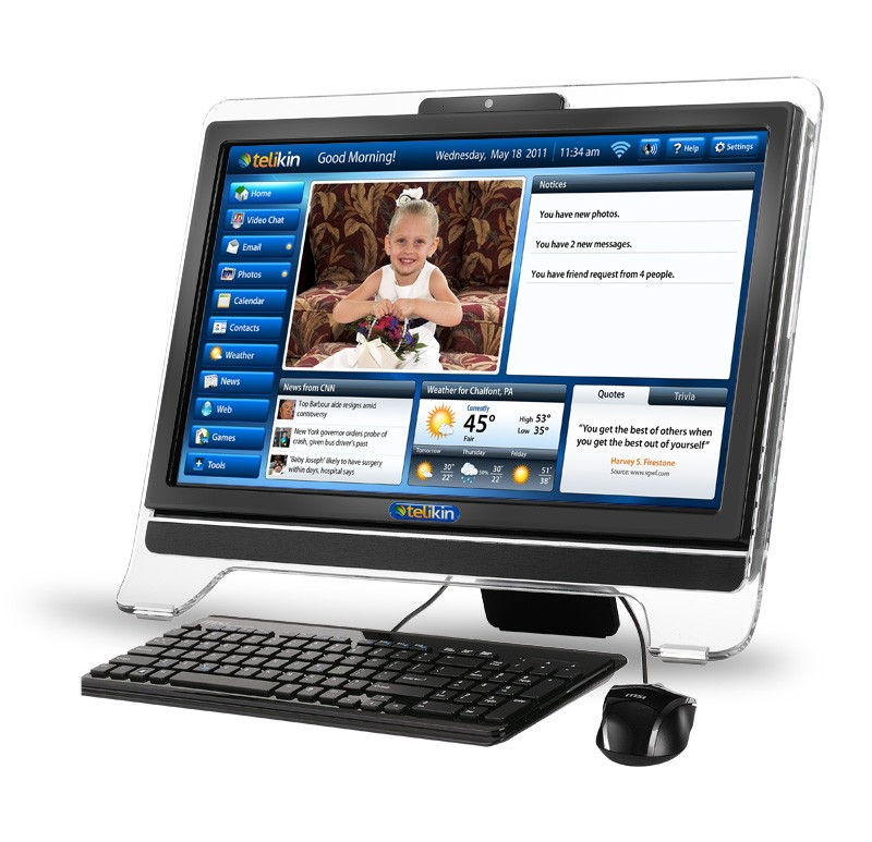 Telikin's 20-inch Elite all-in-one offers computer novices a custom-made touch interface.