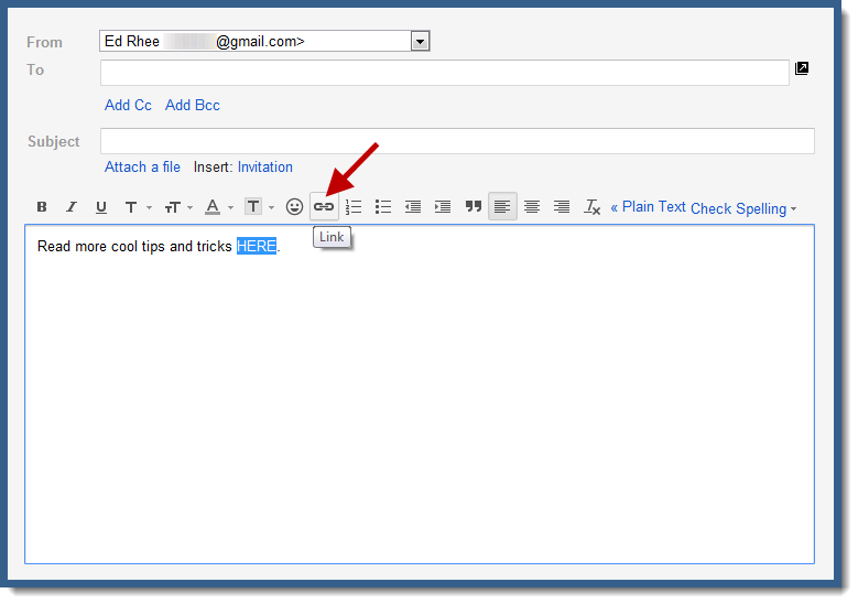 Gmail link button