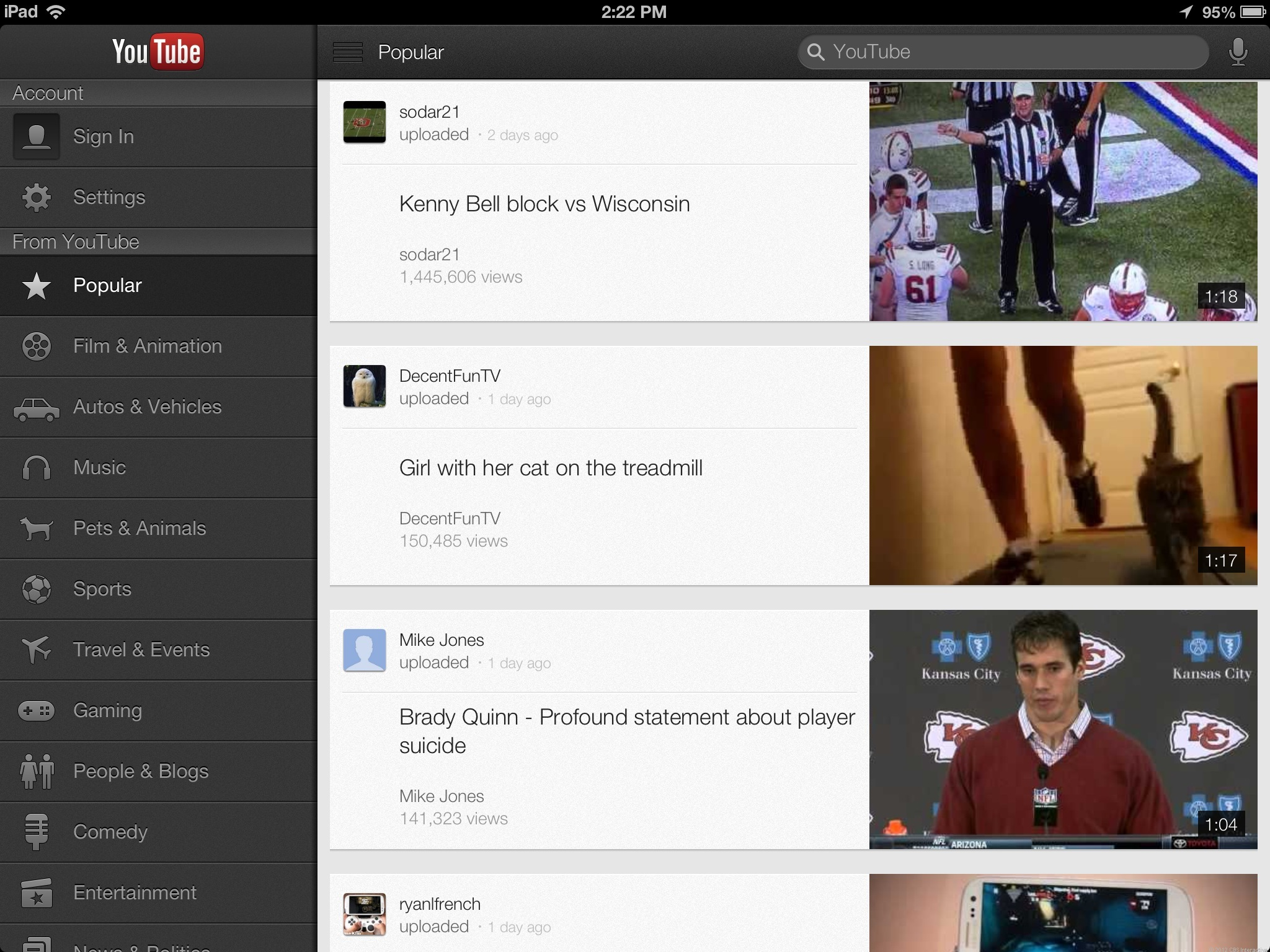 The new YouTube update brings iPad support.