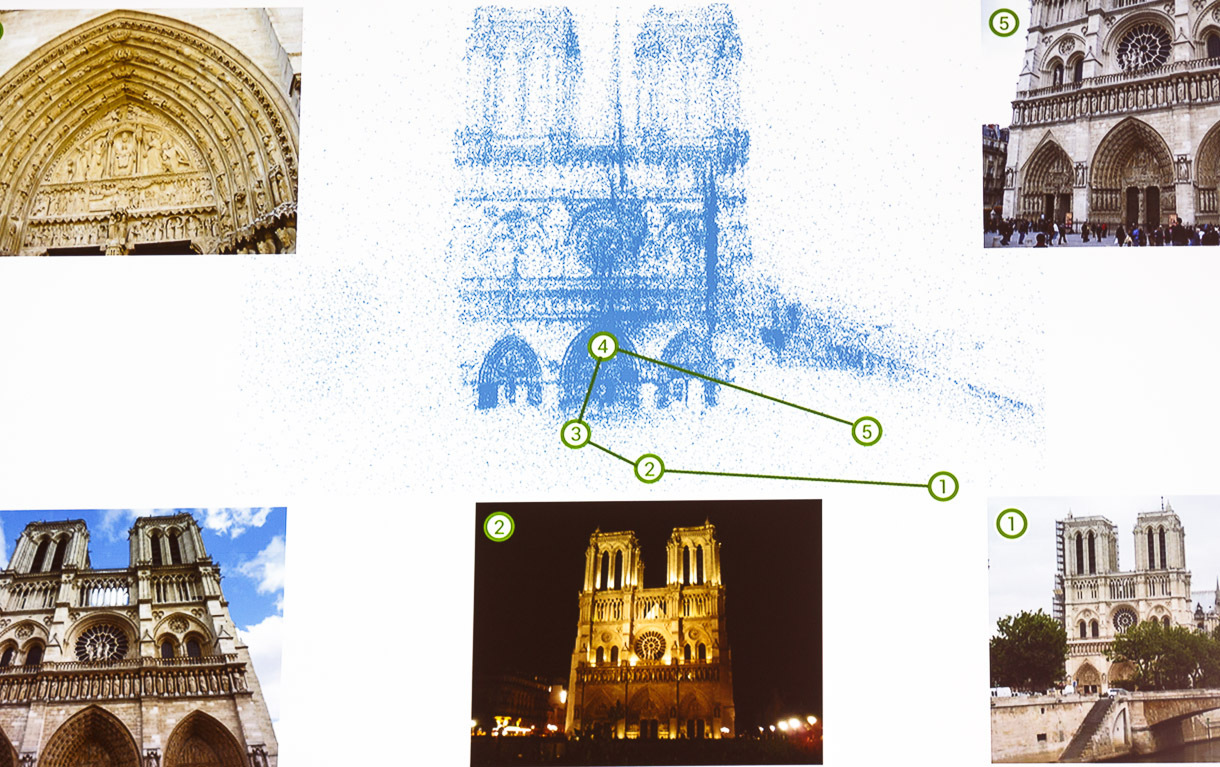 """To create a photographic fly-by of a location, Google generates a """"point cloud"""" that records each spatial point of a location and knows what pixels from thousands of photos correspond to that point. It then picks top photos, as judged in part by human users of Google services, to choose which shots to incorporate."""