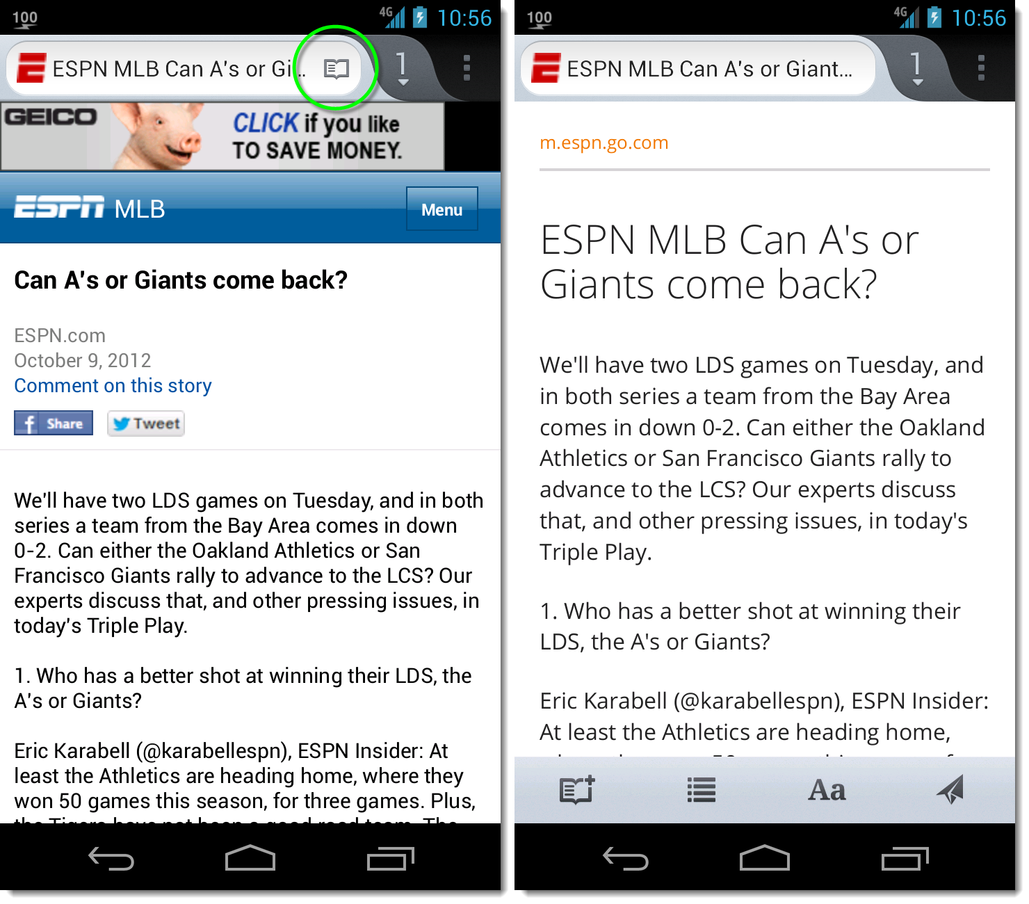 Firefox Reader Mode (Android phone)