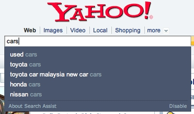 Yahoo Suggest in action