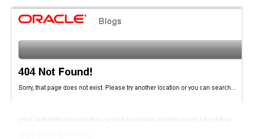 """The """"Not Found"""" message from Oracle that Web surfers get when they click on links to Jonathan Schwartz's blog post praising Google's use of Java in Android."""