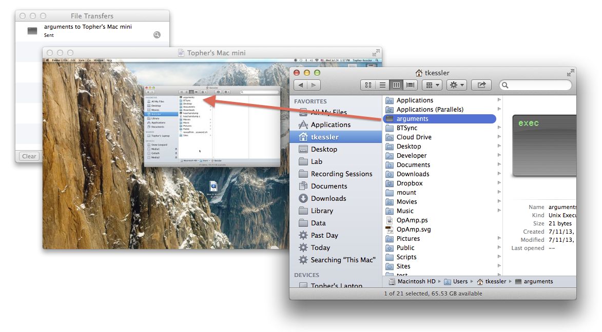 Screen-sharing file transfers in OS X