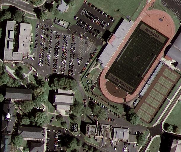 This shot of Kutztown University in Pennsylvania is the first image from the GeoEye-1 satellite. Google is a commercial customer for the satellite's imagery. Click for a larger view.