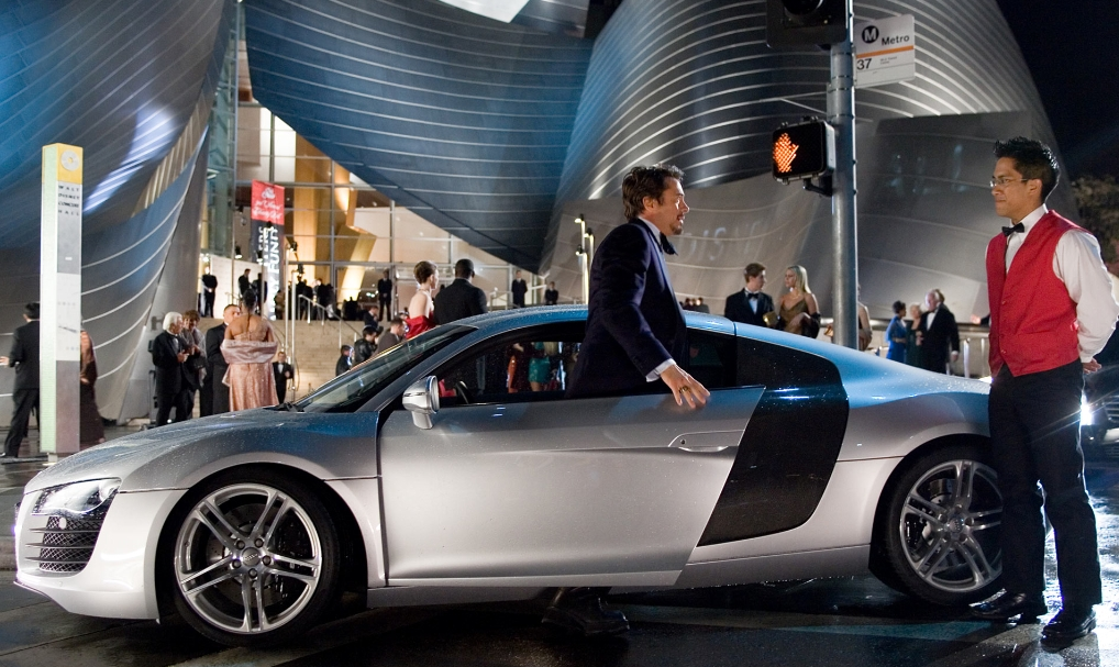 Still picture from Iron Man with Tony Stark and Audi R8.