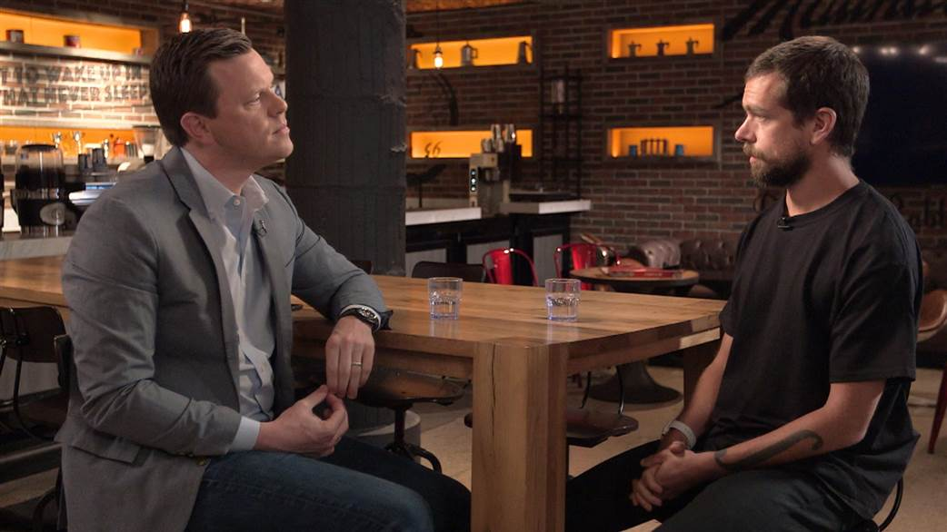 """Twitter CEO Jack Dorsey (right) chats with NBC """"Sunday Today"""" host Willie Geist about Trump's prolific tweets."""