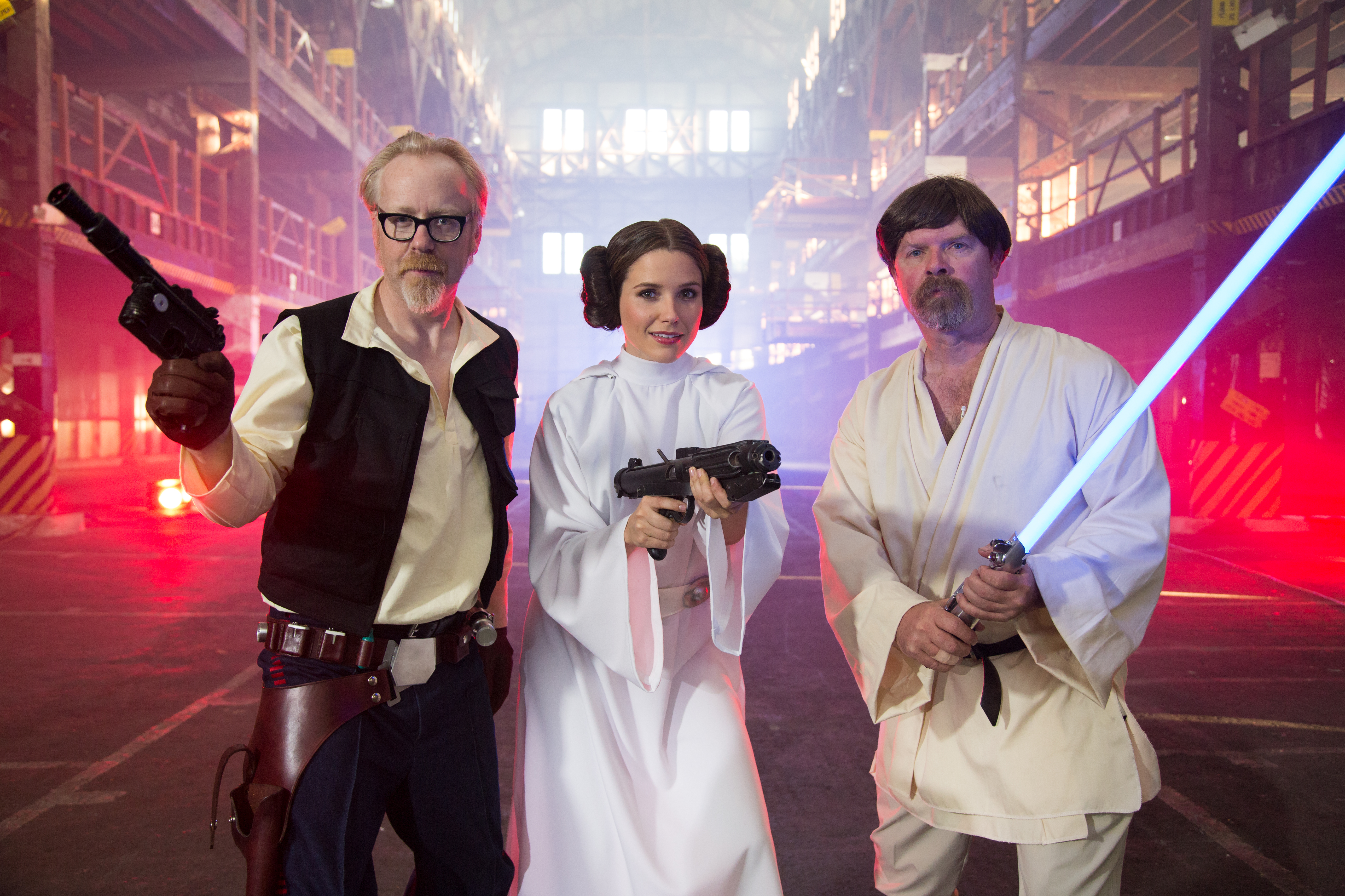 """Look out, Darth Vader! Adam """"Solo"""" Savage, Princess Sophia Bush, and Jedi Jamie Hyneman are ready for action in the """"MythBusters Star Wars Special,"""" airing January 4 on the Discovery Channel."""