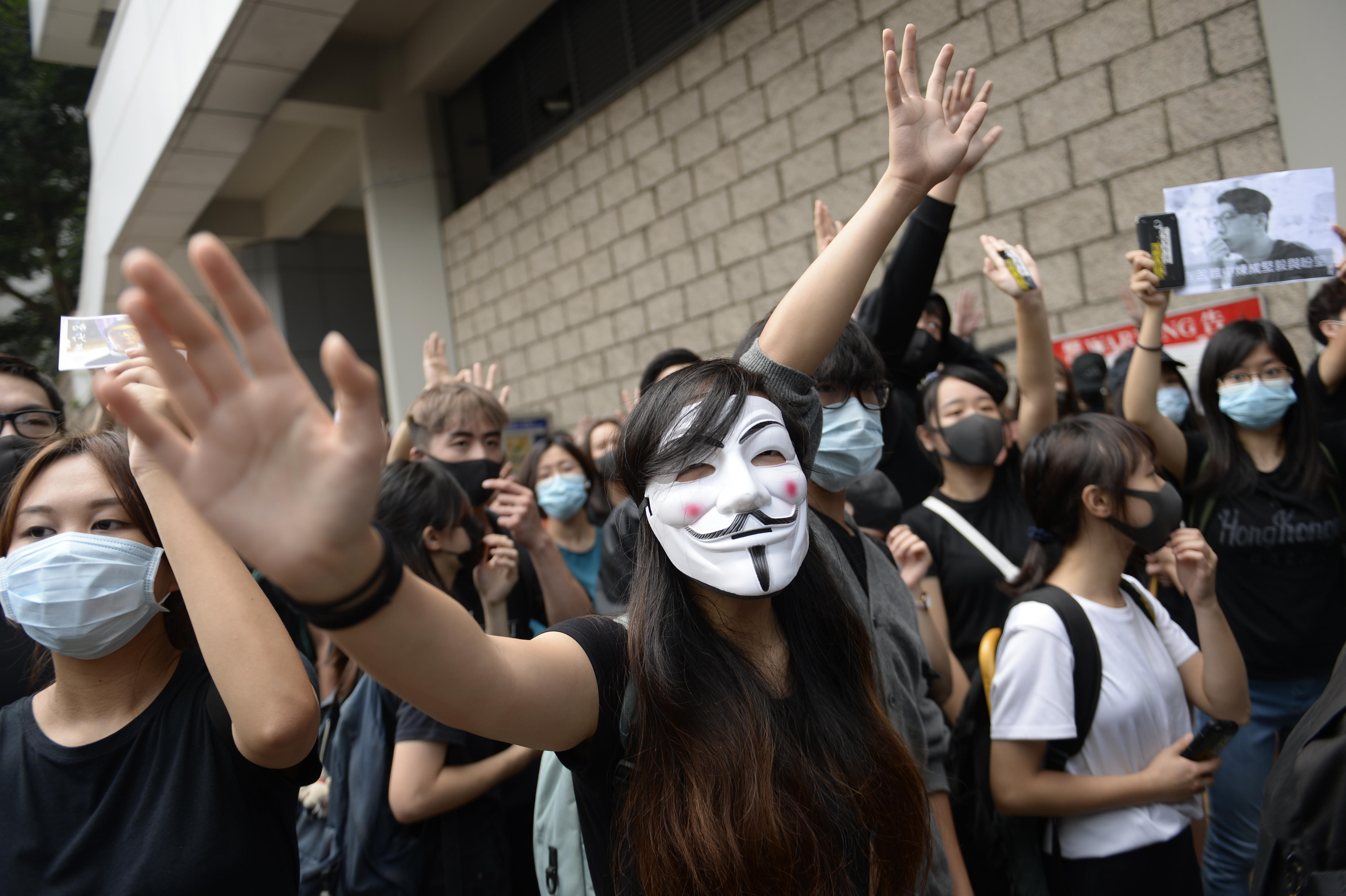Masked protesters in Hong Kong