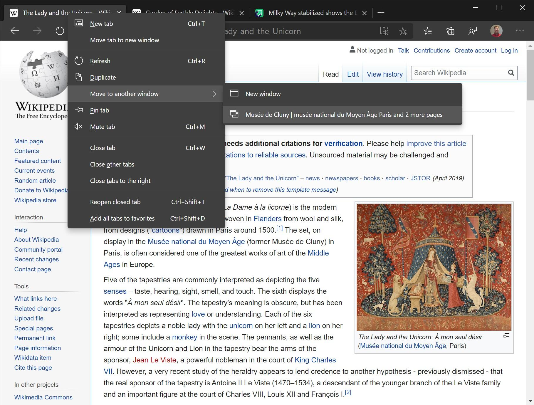 Microsoft's Edge browser lets you move a single tab or group of tabs to a new browser window, a feature that can be useful for grouping related tabs together.