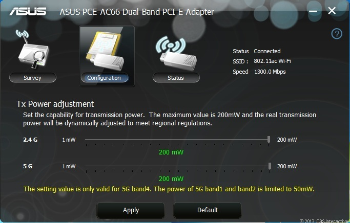 Its included desktop utility offers the option to adjust its Tx Power settings.