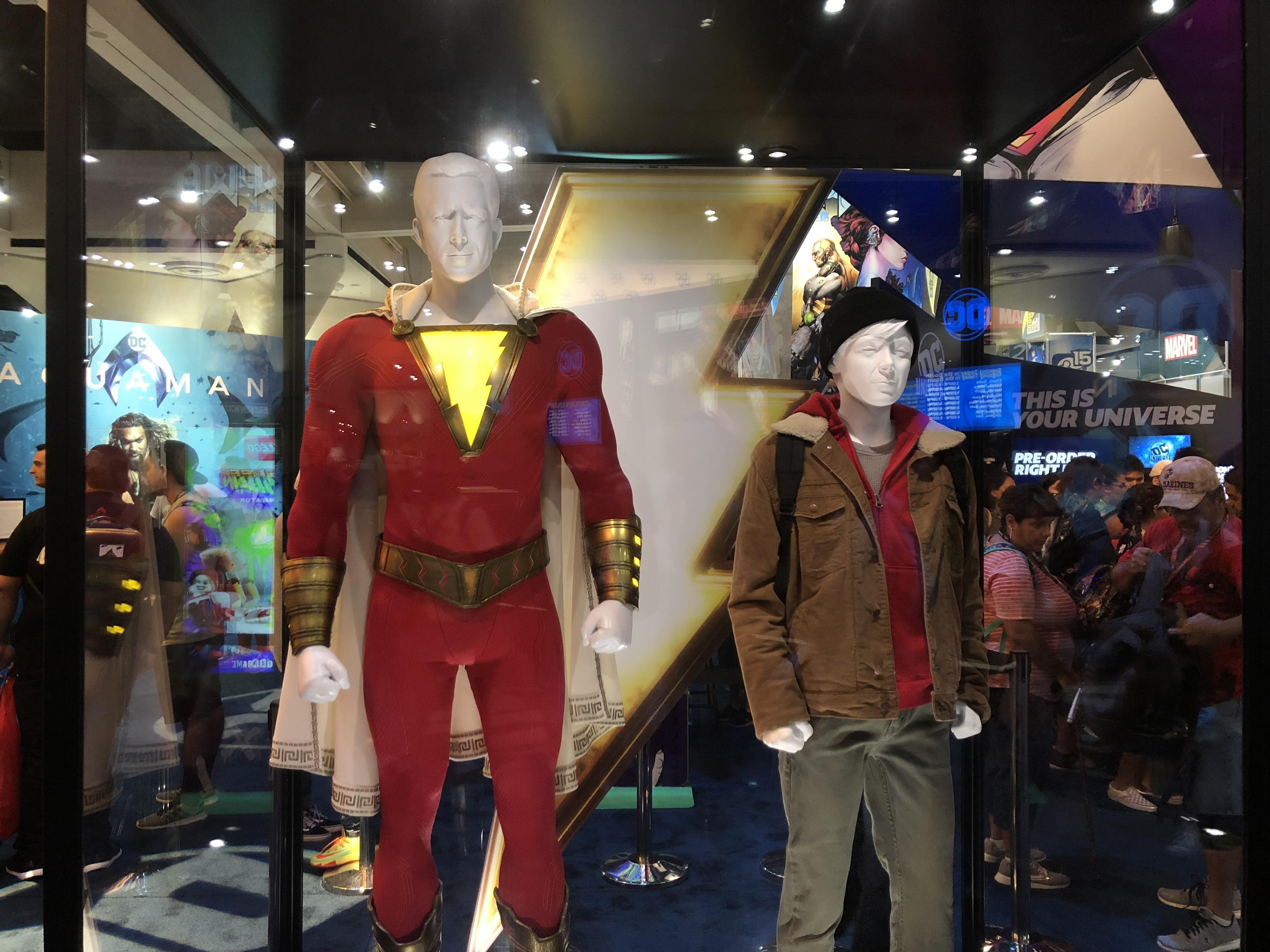 <p>The Shazam costume in particular looks <em>much</em> better in person than it did in the early leaked photos.&nbsp;</p>